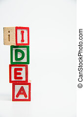 IDEA word wooden block arrange in vertical style on white background and selective focus