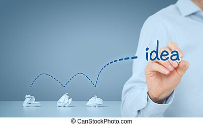 idea, y, creativo, proceso