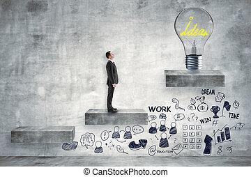 idea, y, liderazgo, concepto