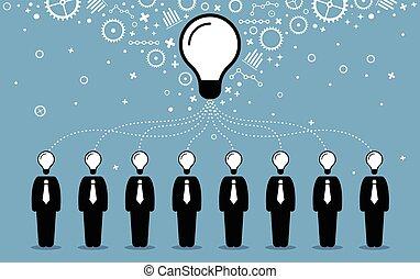 idea., zakenlui, scheppen, intellecten, beter, hun, ideeën, gedachten, het combineren, groter