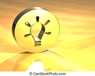 idea, znak, 3d, złoty
