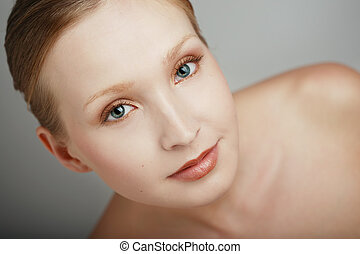 Ideal beauty - Portrait of beautiful blond blue-eyed girl ...