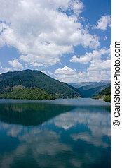 ideal, reflexión, en, lago