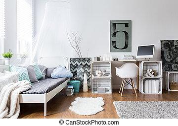 ideale, hipster, confortevole, stanza