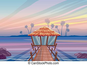 Idealistic landscape on a tropical island, wooden bridge to the bungalow house