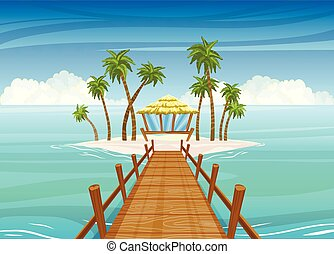 Idealistic tropical island, wooden bridge to the bungalow house