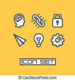 ideas., セット, ベクトル, イラスト, アイコン