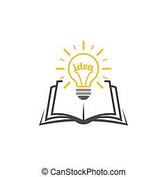 ideas., ライト, 上に, 出生, 本, 知識, 電球, シンボル