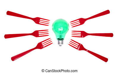 Ideas About Food - Green Light Bulb with Red Forks for...