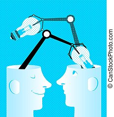 ideas., ampoules, têtes, échange