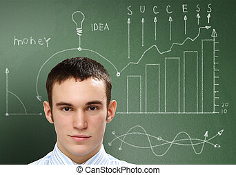 Ideas and creativity in business - Young businessman with...