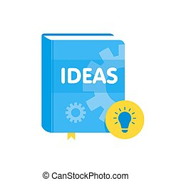 Ideas book with lightbulb flat icon. Online business...