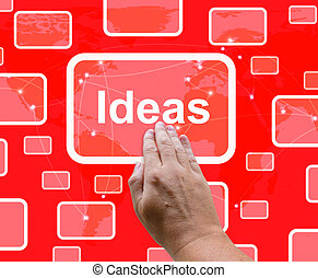 Ideas Button On Red Background Showing Concepts Or Creativity