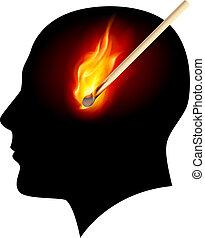 ideas., concept, brûlé, allumette, créatif