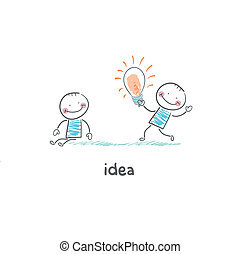 ideas., concept, bulbs., échange