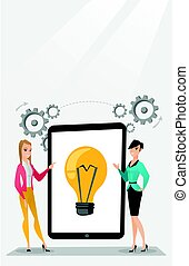 ideas., discutere, donne affari, affari, creativo