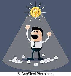ideas., engraçado, feliz, personagem, homem negócios