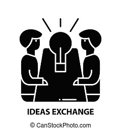 ideas exchange icon, black vector sign with editable strokes, concept illustration