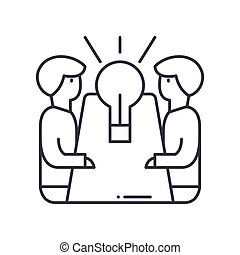 Ideas exchange icon, linear isolated illustration, thin line vector, web design sign, outline concept symbol with editable stroke on white background.