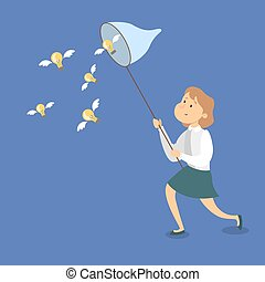 ideas., femme affaires, attraper