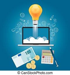 ideas, finanzas, provisión de recursos financieros, lanzamiento, conseguir, start-up, proyecto, su