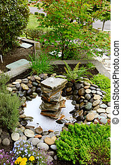 Ideas for landscaping home garden. Fountain with rocks.