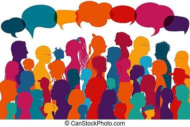 ideas., gente, coloreado, multiétnico, multitud, ...