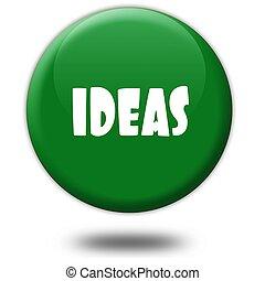 IDEAS on green 3d button.
