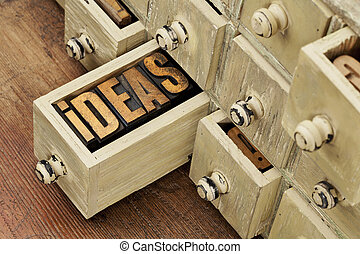 ideas or brainstorming concept - ideas word in vintage...