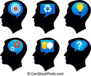 Six black profiles with colorful idea symbols