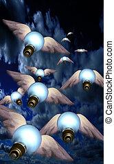 Ideas Take Flight - Winged bulbs take flight in a group ...
