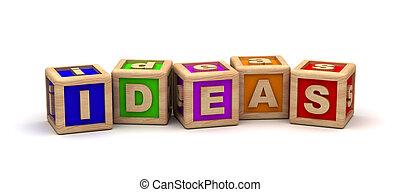 ideas, texto, cubo