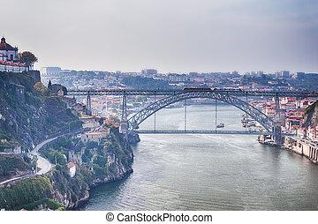 ideas., viaje, a través de, rojo, portugal, douro, cityscape...