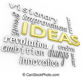 Ideas Word Background - Innovation Vision 3D Words - A...