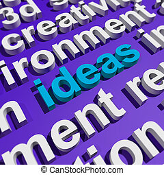 Ideas Word In 3d Lettering Showing Concepts Or Creativity
