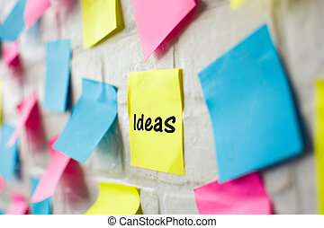 Ideas word in colored notes
