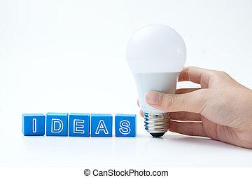Ideas word with light bulb