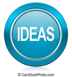 ideeën, blauwe , pictogram