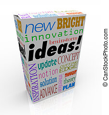 ideeën, product, doosje, vernieuwend, ingeving, concept,...