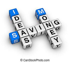 ideeën, reddend geld, kruiswoordraadsel