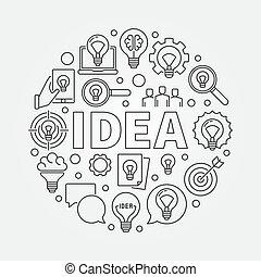 idee, abbildung, runder