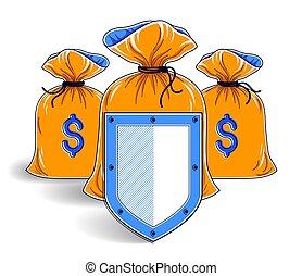 idee, bankwesen, geld, schutzschirm, säcke, versicherung, sicher, investitionen, design., kredite, finanziell, deponieren, vektor, begriff, spareinlagen, schutz, aus, geschaeftswelt