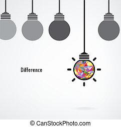 idee, concept., vektor, hintergrund, zeichen, zwiebel, kreativ, leichtes unternehmen, unterschied, bildung, abbildung