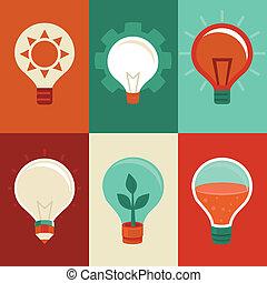 idee, en, innovatie, concepten, -, plat, gloeilampen