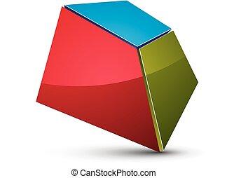 idee, grafisch, driedimensionaal, kleurrijke, abstract, symbool., vrijstaand, vector, teamwork, element., witte , ontwerp, bedrijf, bijzondere , pictogram
