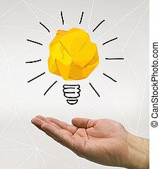 idee, halten hand