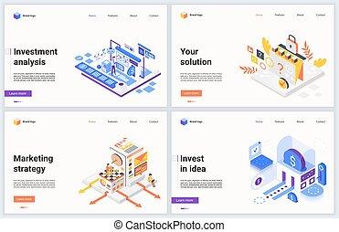 idee, investeren, succesvolle , investering, financieel, spotprent, vector, concept, strategie, zakelijk, marketing, plan, isometric, illustratie, 3d, nieuw