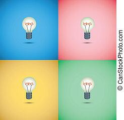 idee, kleurrijke, bol, licht