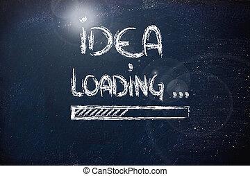 idee, laden, schreiten stab fort, auf, tafel