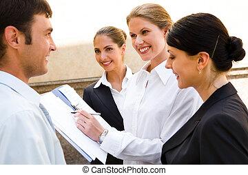 idee nuove, discusing, affari
